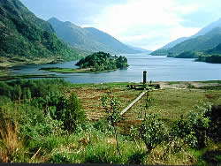 Monument at the head of Loch Shiel to the 1745 rising, led by Bonnie Prince Charlie